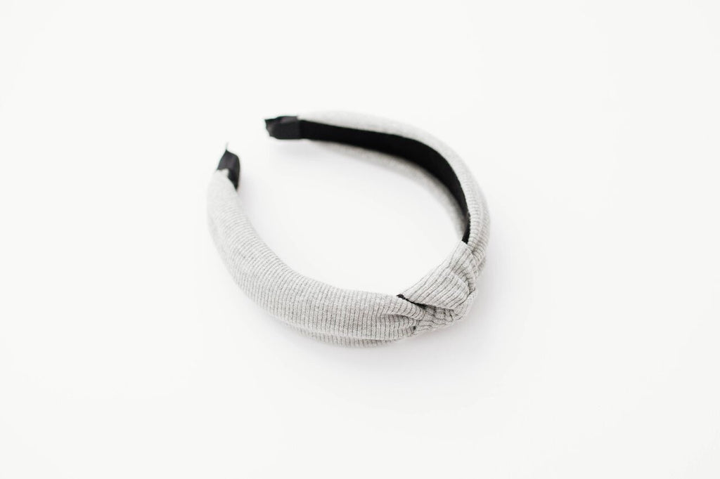 Gray Jersey Rib Knotted Headband