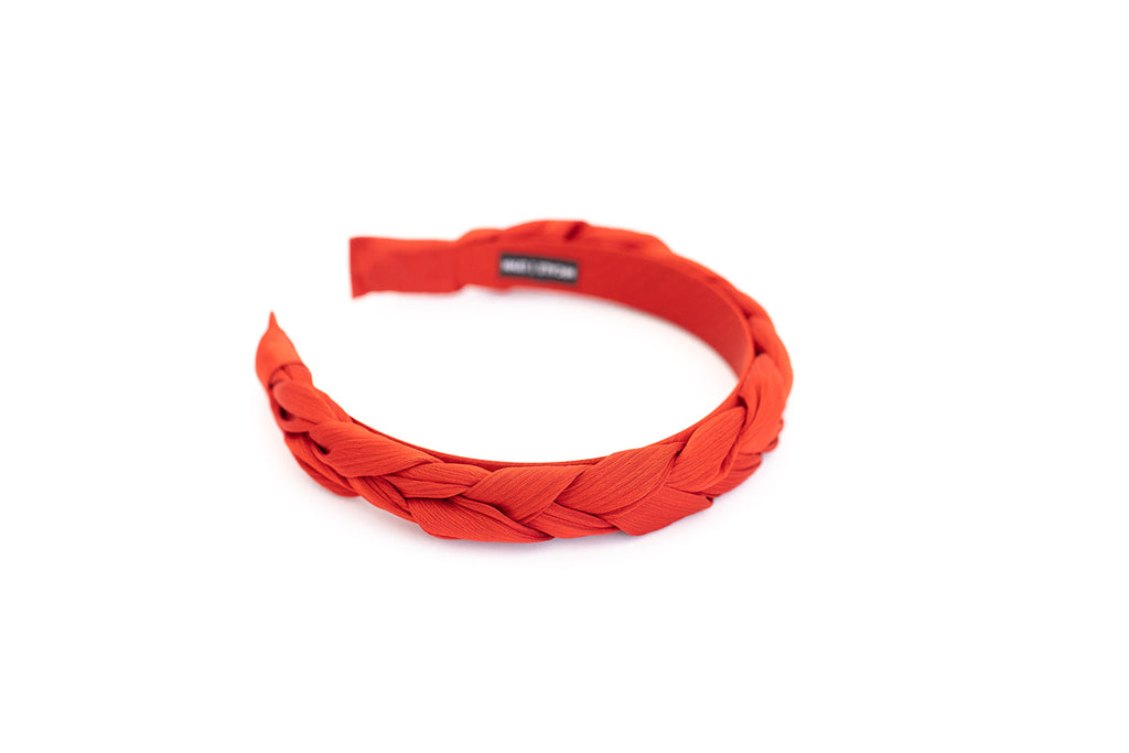 Red Satin Braided Headband