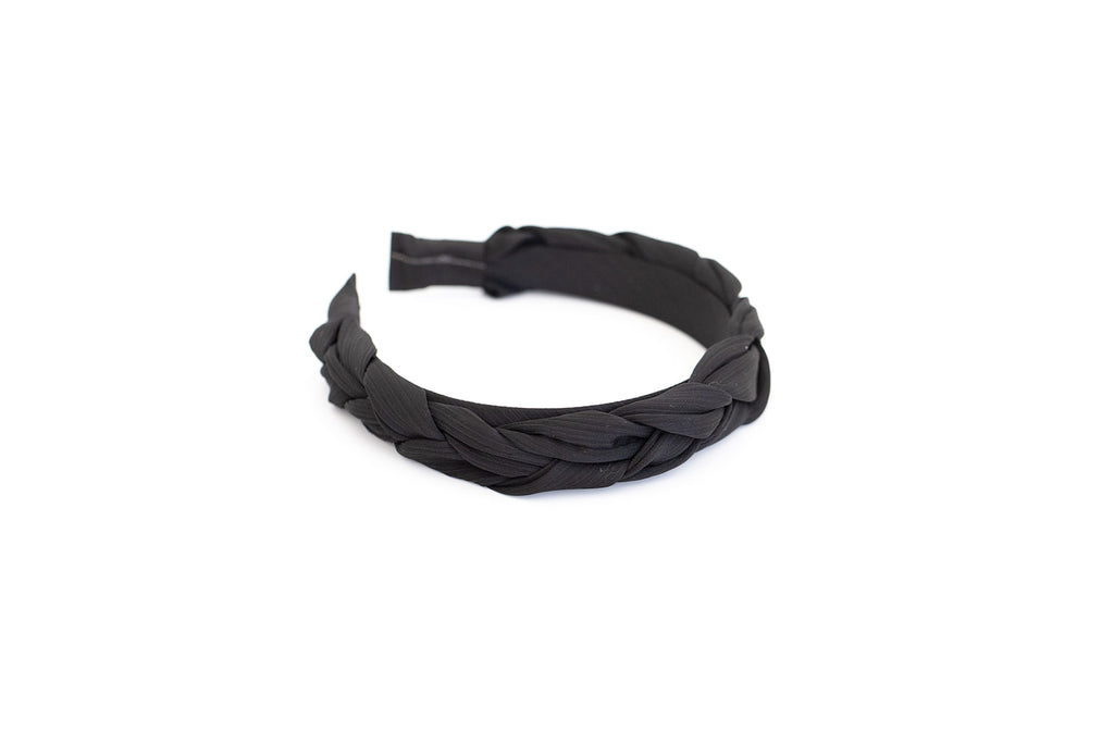Black Satin Braided Headband