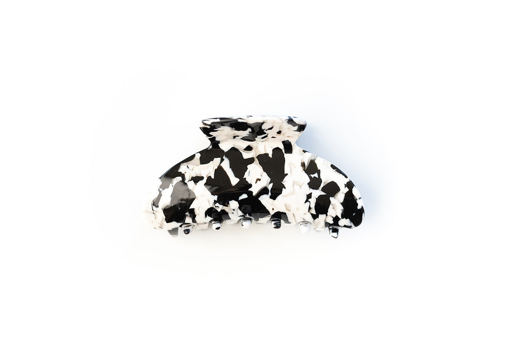 Black and White Speck Large Claw Clip