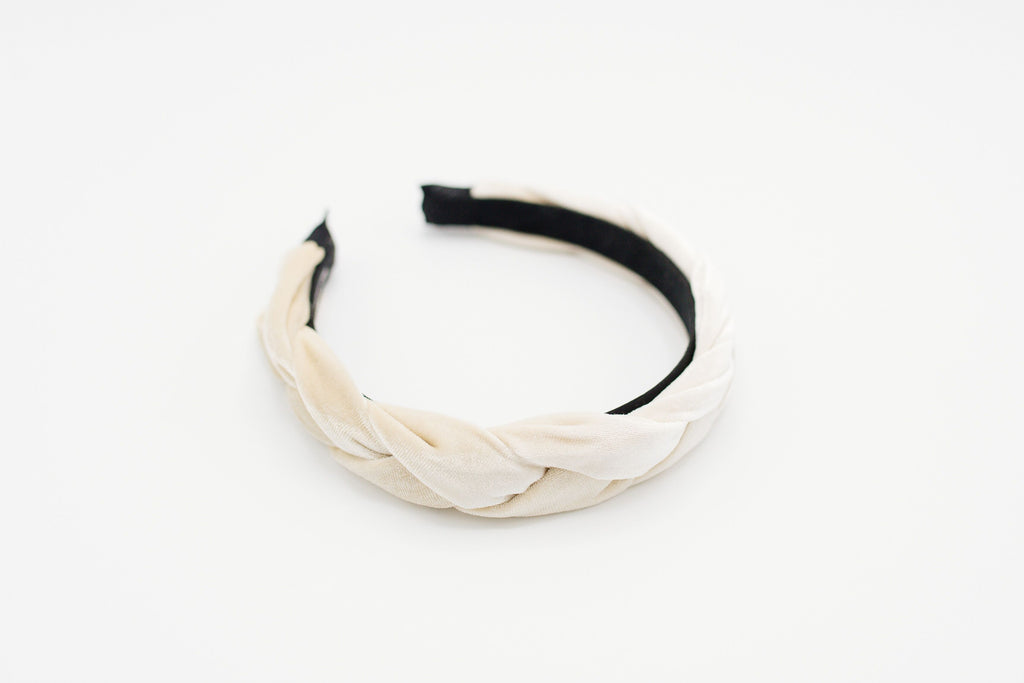White Velvet Braided Headband