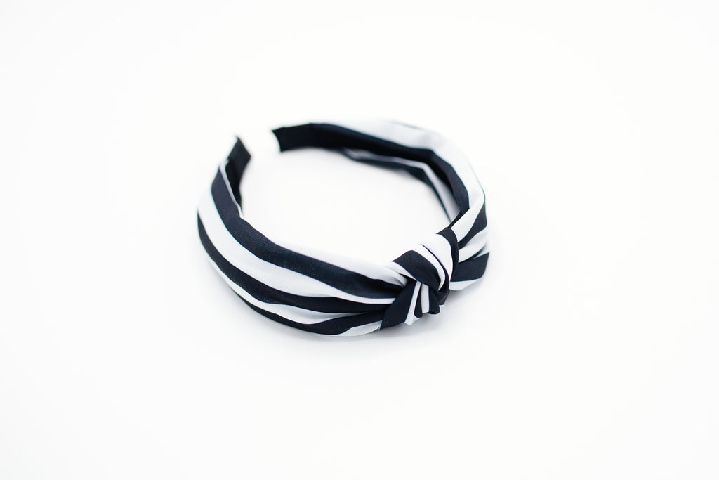 Black and White Wide Stripe Knotted Headband