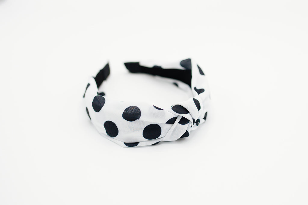 White & Black Polka Dot Knotted Headband
