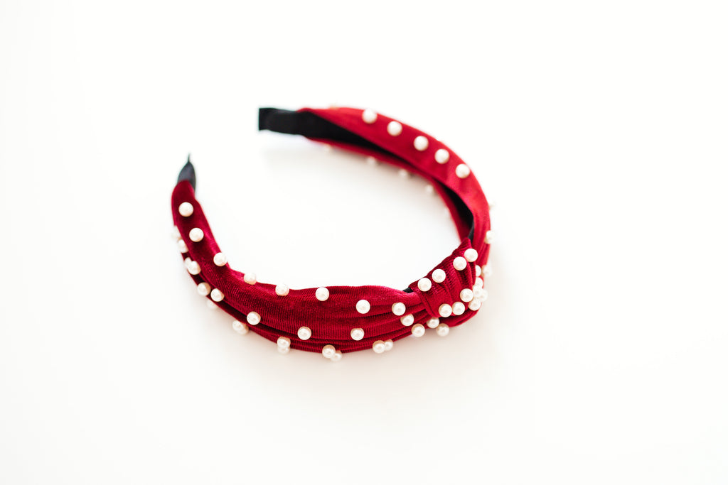 Red Velvet Pearl Headband