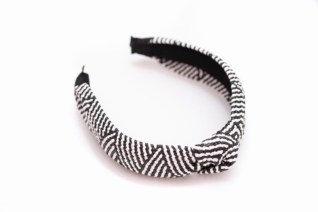 Rattan Woven Black & White Knotted Headband