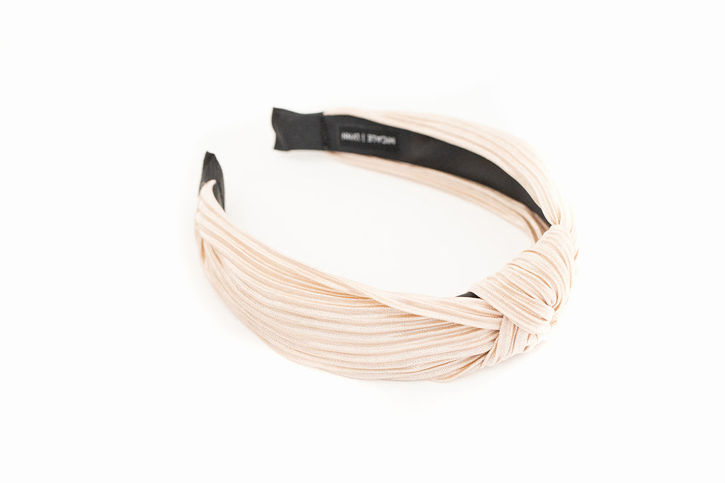 Champagne Ribbed Knotted Headband
