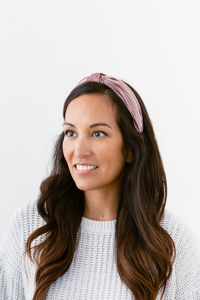Blush Velvet Ribbed Headband