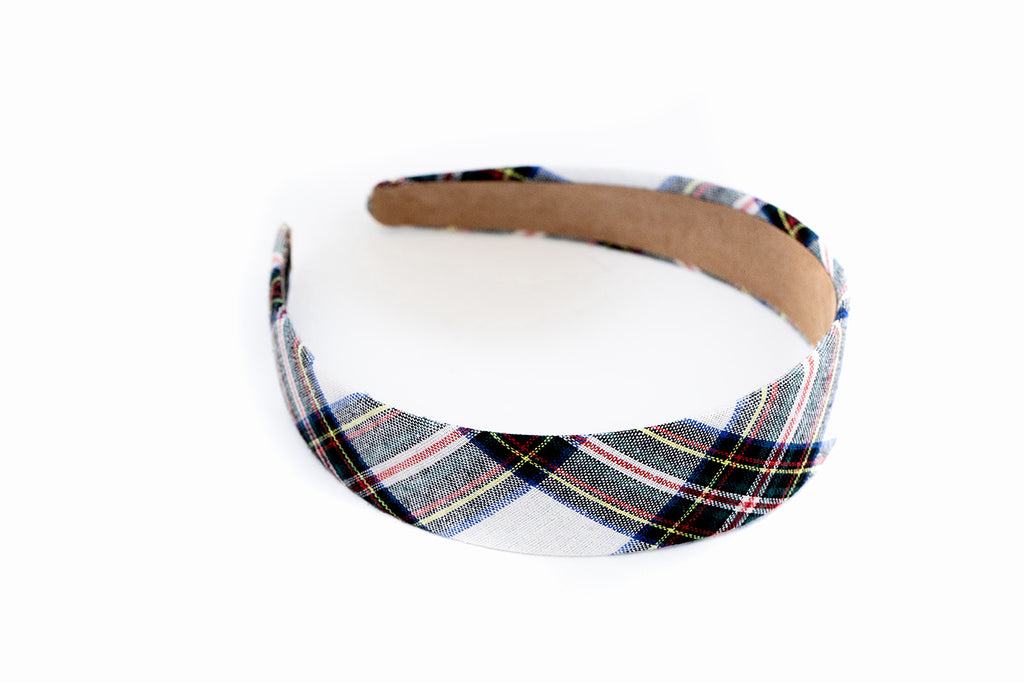 Preppy White Plaid Headband
