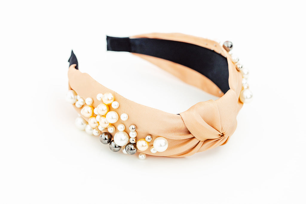 Glam Peach Pearl Headband