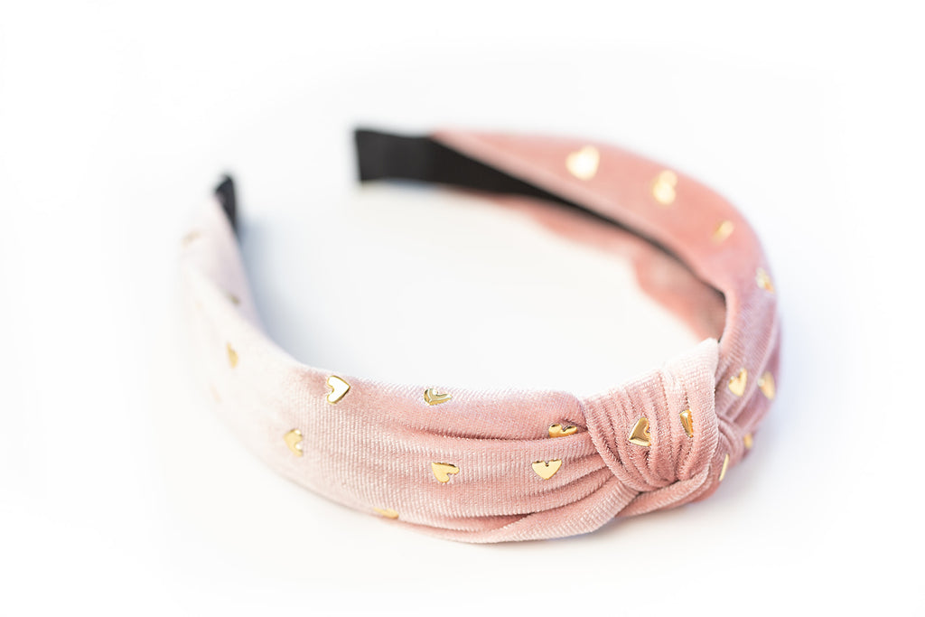 Blush Gold Heart Studded Headband