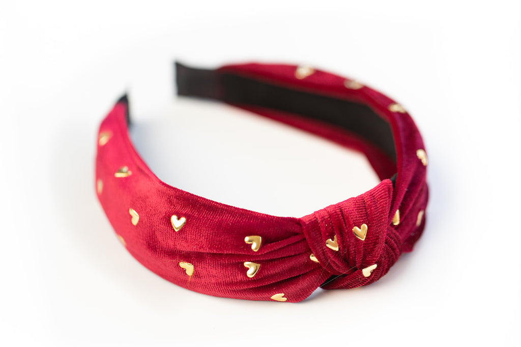 Red Gold Heart Studded Headband