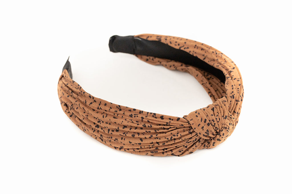 Brown and Black Speck Knotted Headband