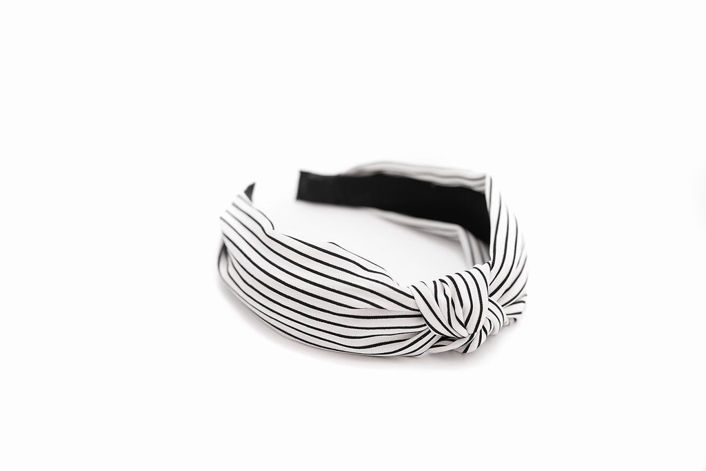 White & Black Striped Headband