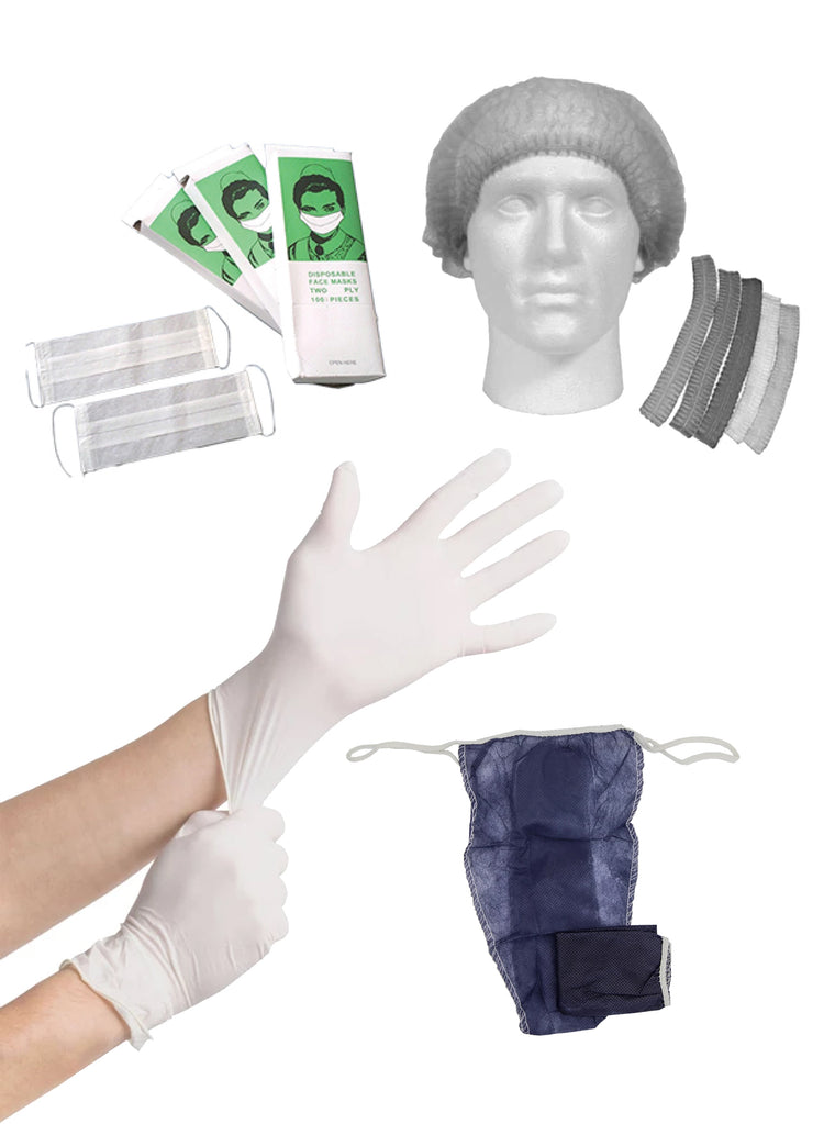 Disposable Bundle Promo Deal:  Latex Gloves x 100, Hairnets x 100, Thongs x 50, Face Masks x 100