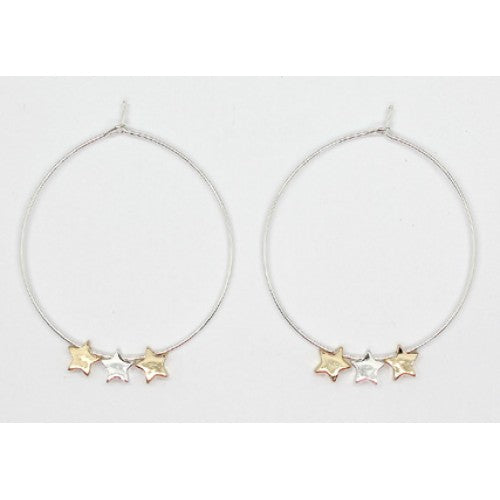 Triple Star Hoops - Silver