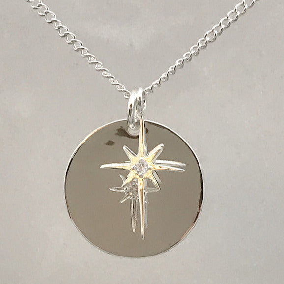 Silver Plated Star and Disc Necklace