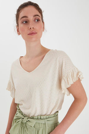 Gold Frill Sleeve T-Shirt