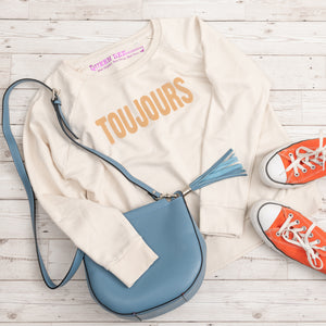 TOUJOURS Organic Easy Fit Sweatshirt Off White