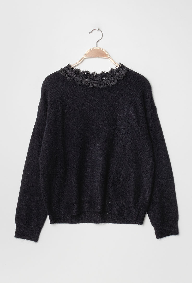 Lace Collar Snowflake Sweater