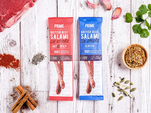 Classic Salami Sticks - High Protein, Paleo & Keto Friendly - Made with British Grass Fed Beef