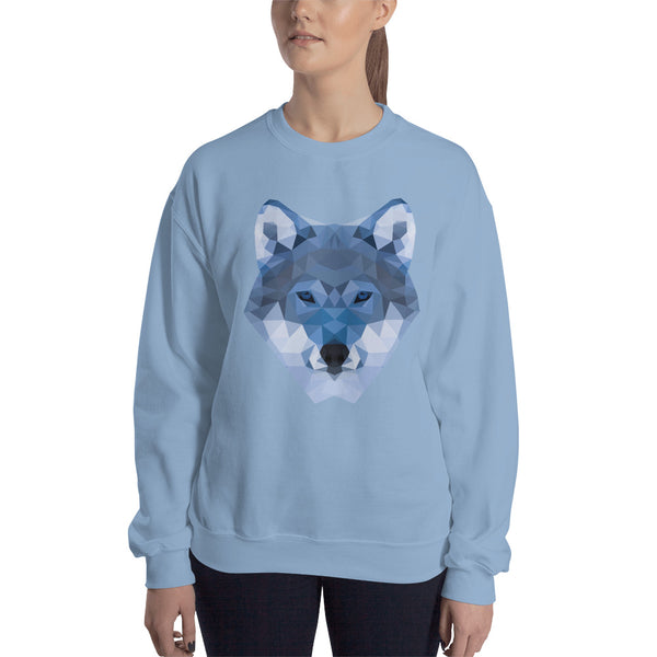 sweatshirt wolf lowpoly polygon bleu clair / light blue