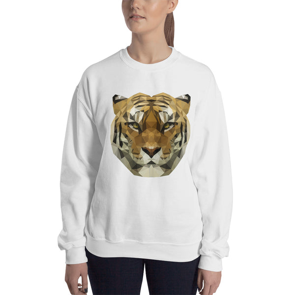 Sweatshirt Tiger Lowpoly Polygon blanc / white