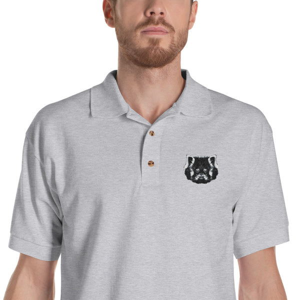 polo gris panda roux brodé / grey polo shirt red panda embroeded
