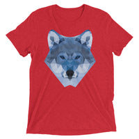 t-shirt manches courtes wolf lowpoly rouge / short sleeve wolf lowpoly red