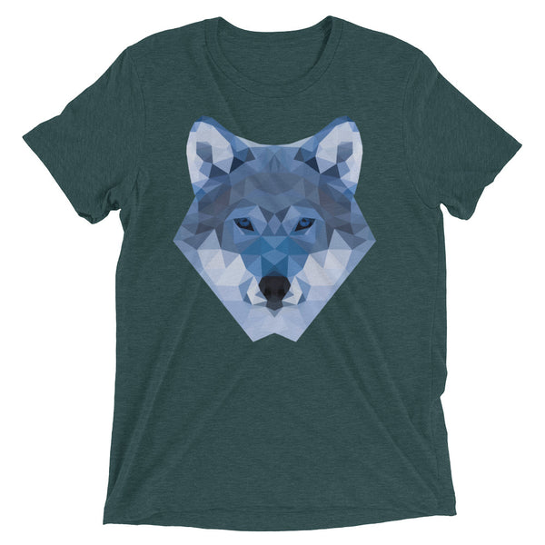 t-shirt manches courtes wolf lowpoly emeraude / short sleeve wolf lowpoly emerald