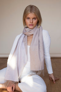 The Cashmere & Lambswool Scarf - Two Tone Beige