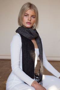 The Cashmere & Lambswool Scarf  - Reversible Grey