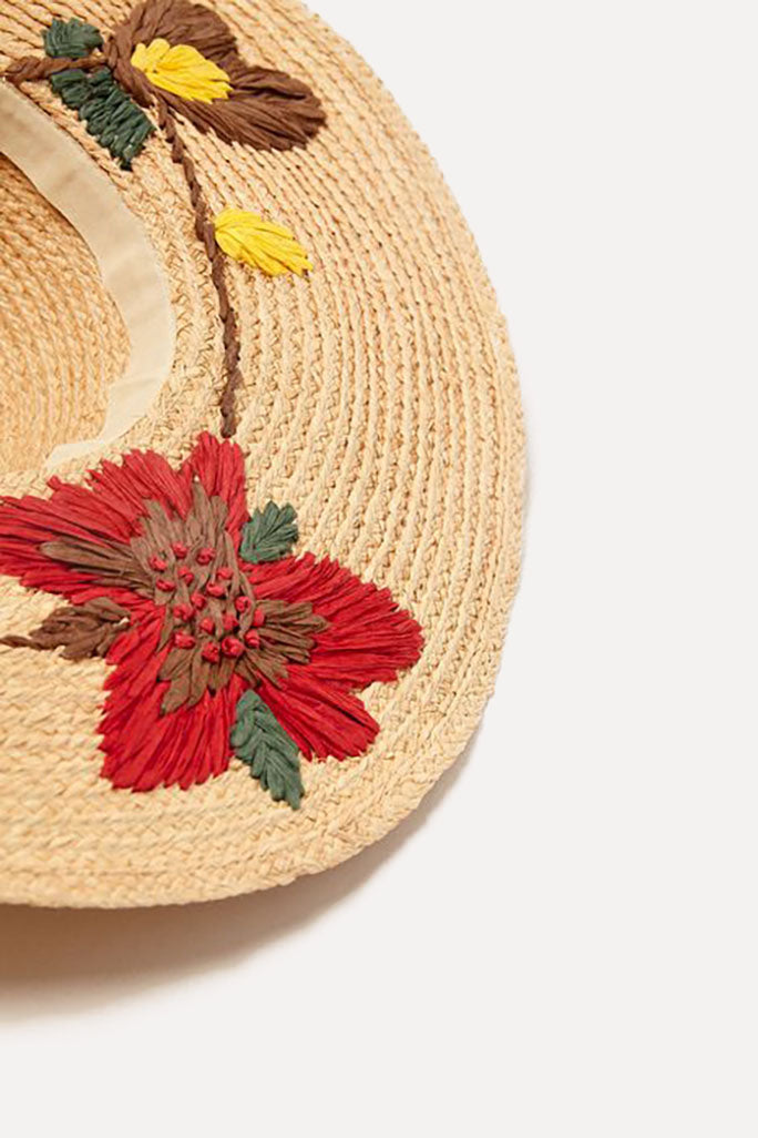 THE LARGE FLOPPY FLORAL EMBROIDERY HAT