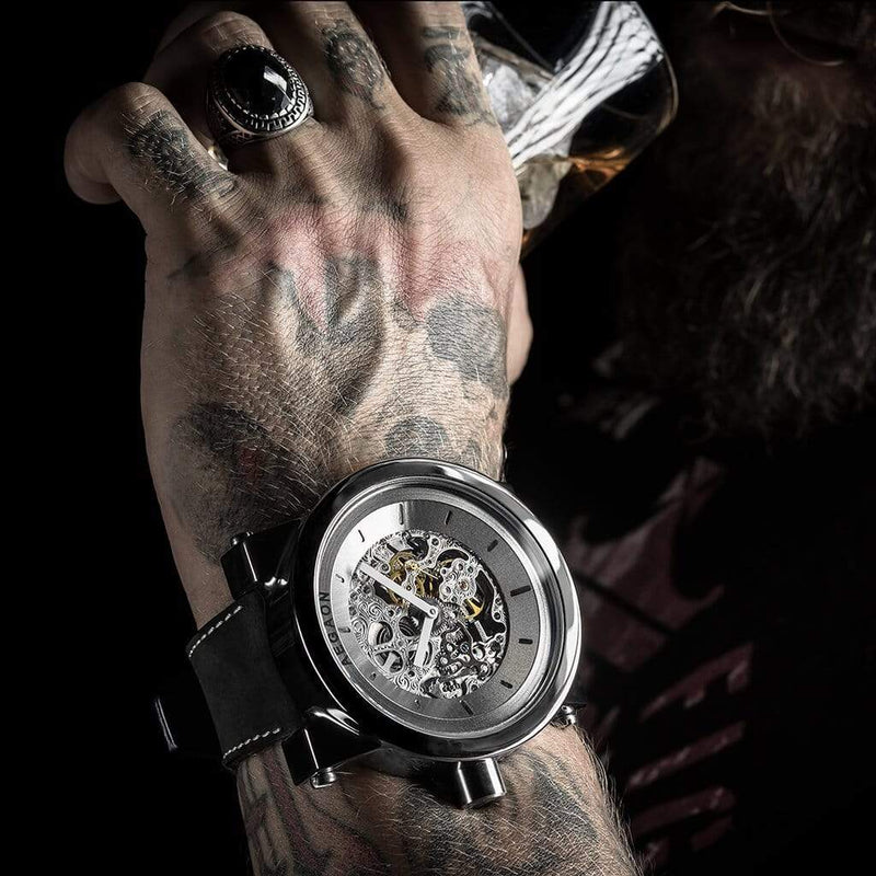 AEGAON, Peacemaker 65, skeleton watch, oversize watch, big watch, huge watch, quality watch, unique watches, woundable watch, gift idea, men's watch, watches for men, watches for big men, watches for big wrist, oversize clothing, Estonia, meeste käekell, meeste käekellad, suur käekell, Eesti käekellad, kingi idee, rannekellot, iso rannekello, laatukellot, laatu rannekello, viron rannekellot, rannekellot miehille,