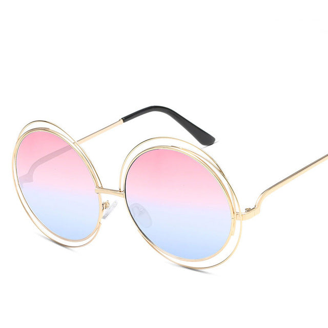 Luxury Round Sunglasses Women Brand Designer 2018 Vintage Retro Oversized Sunglass Female Sun Glasses For Women Sunglass Mirror - Milo-boutique