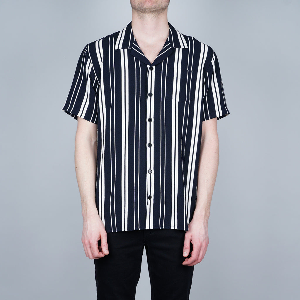 Libertine-Libertine Cave SS Shirt - Navy with white stripes