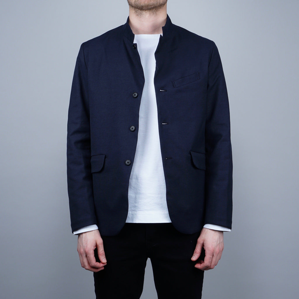Still by Hand Stand Collar Jacket - Navy
