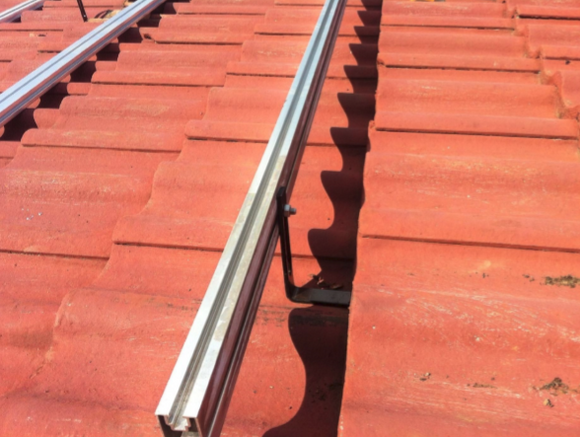 6 PC PV Panel Mounting Structure for Roof Tile Mounting