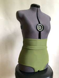 Size L Olive Green Classic High Waist Swim Bottoms