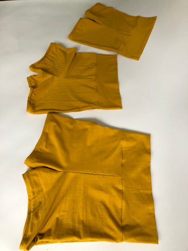 Gold Hemp High Waist Bike Shorts/ Yoga Shorts