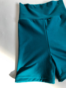 S Teal High Waist Bike Shorts