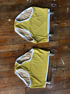 Lemon/White Sitting High Bathing Suit Bottoms
