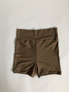 Taupe High Waist Bike Shorts/ Yoga Shorts