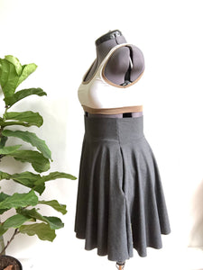 Charcoal Grey High Waist Pocket Skirt