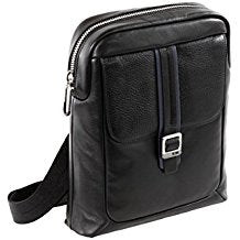 BORSELLO TRACOLLA NAVA COURIER LEATHER IPAD CROSSOVER NERO
