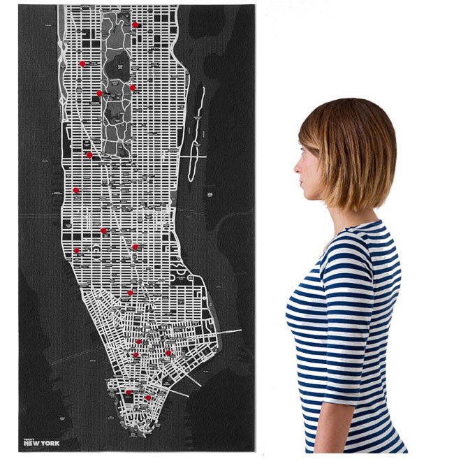 WALL MAP 70X130 CM PIN CITY NEW YORK BLACK