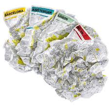 CRUMPLED CITY MAP PALOMAR PARIS
