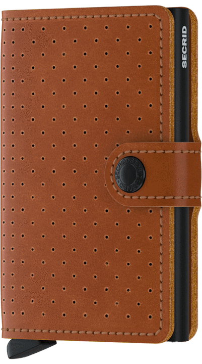 MINIWALLET SECRID PERFORED COGNAC