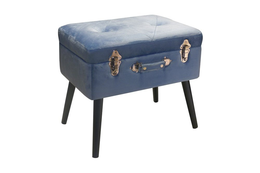 BAULETTO POUF CONTENITORE PUSHER  BLUE  VELVET