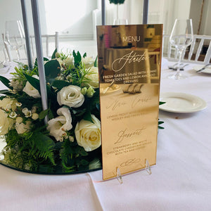 Gold Mirror Menu DL Shape - Florence Collection - Wedding Lux