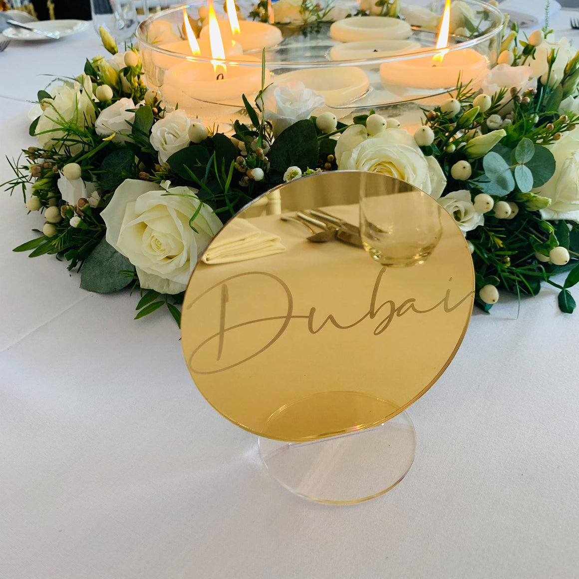 Gold Mirror Table Name Circle - Tiffany Collection - Wedding Lux